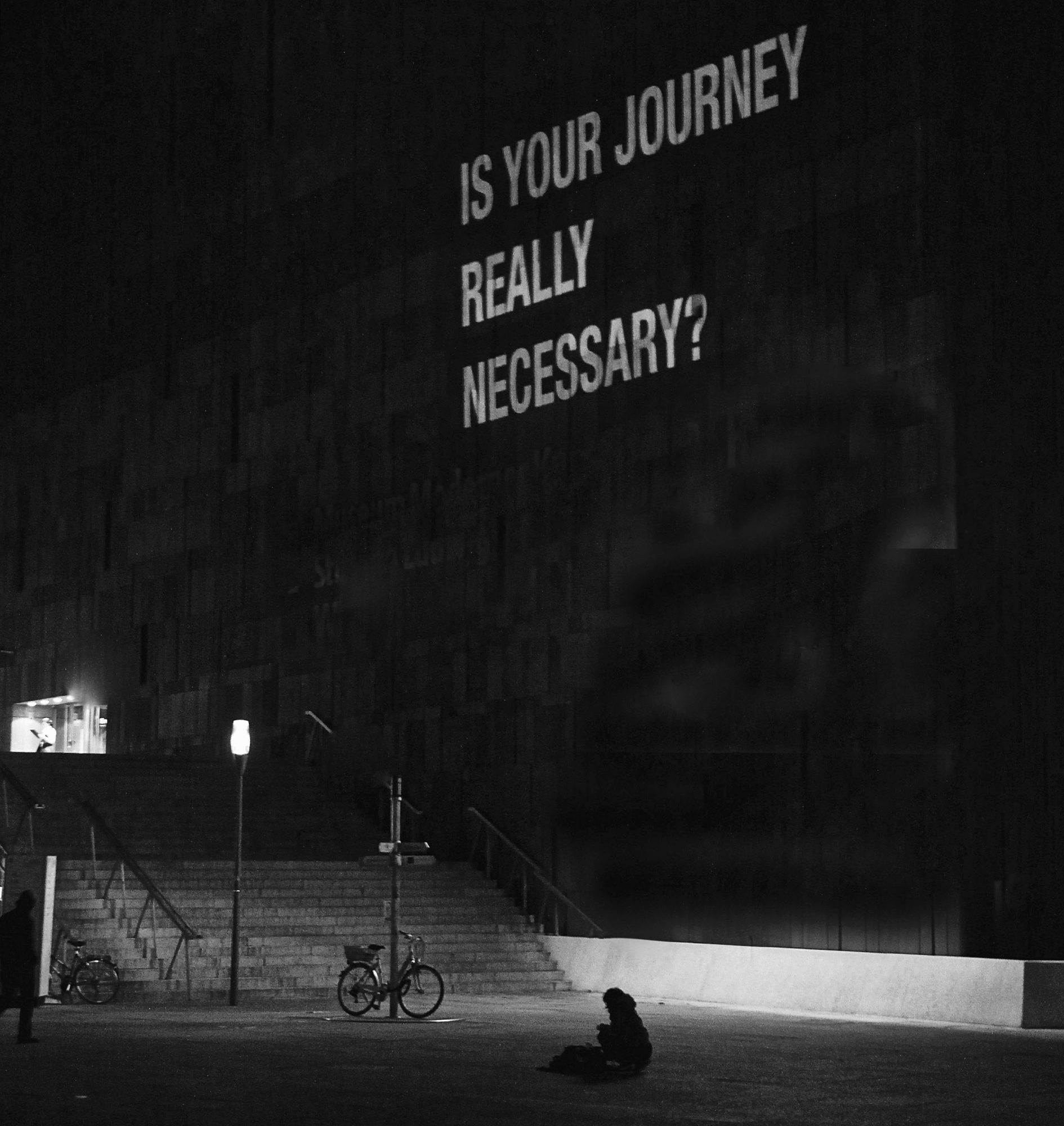 Is your journey really necessary?, 2009, Textprojektion, MUMOK Wien / Vienna